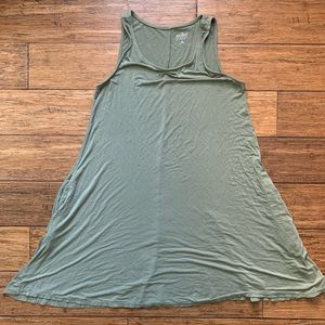 Olive Green Sleeveless Dress with Pockets